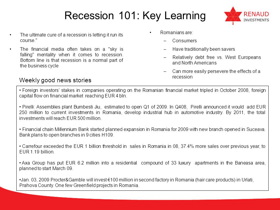 Recession 101: Key Learning