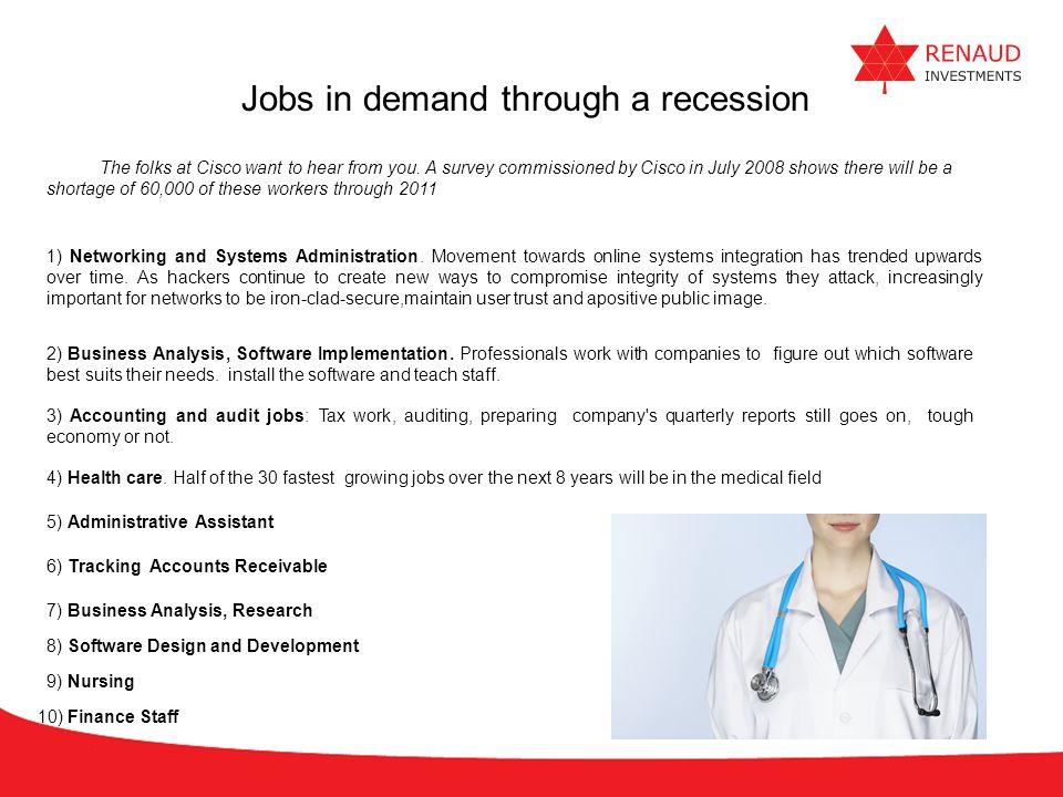 Jobs in demand through a recession