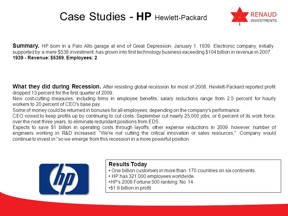 Case Studies - HP Hewlett-Packard