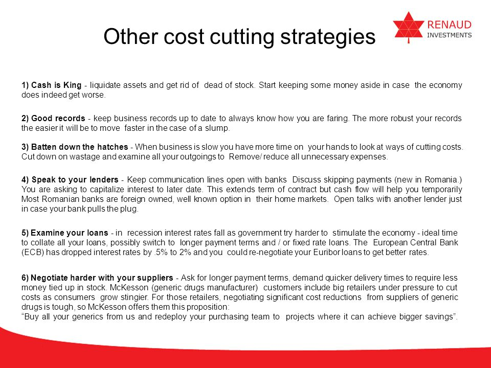 Other cost cutting strategies