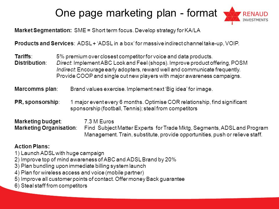 One page marketing plan - format