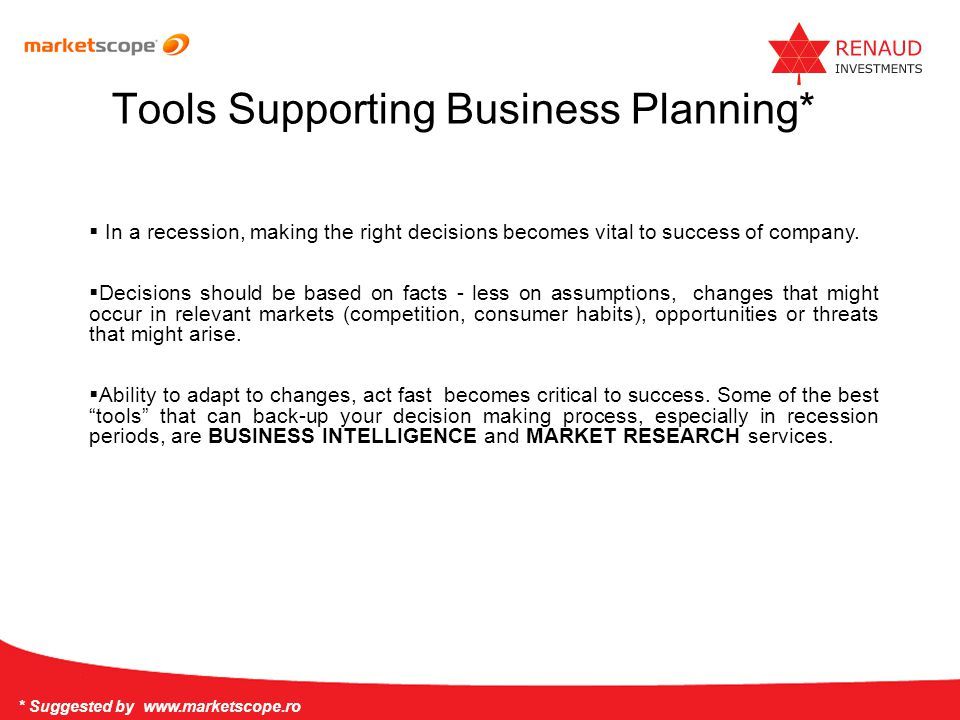 Tools Supporting Business Planning*