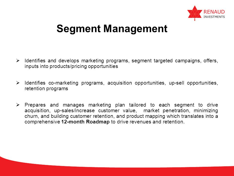Segment Management Identifies and develops marketing programs, segment targeted campaigns, offers, inputs into products/pricing opportunities.