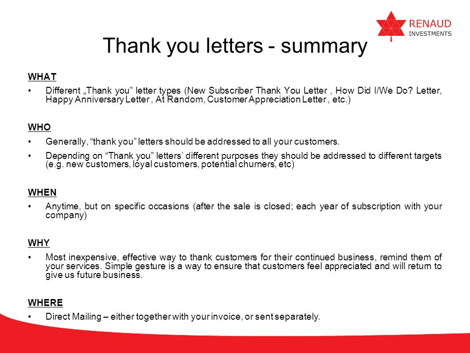 Thank you letters - summary