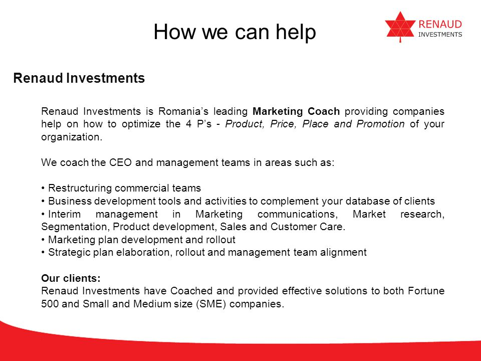 How we can help Renaud Investments