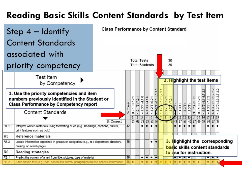Reading Basic Skills Content Standards by Test Item