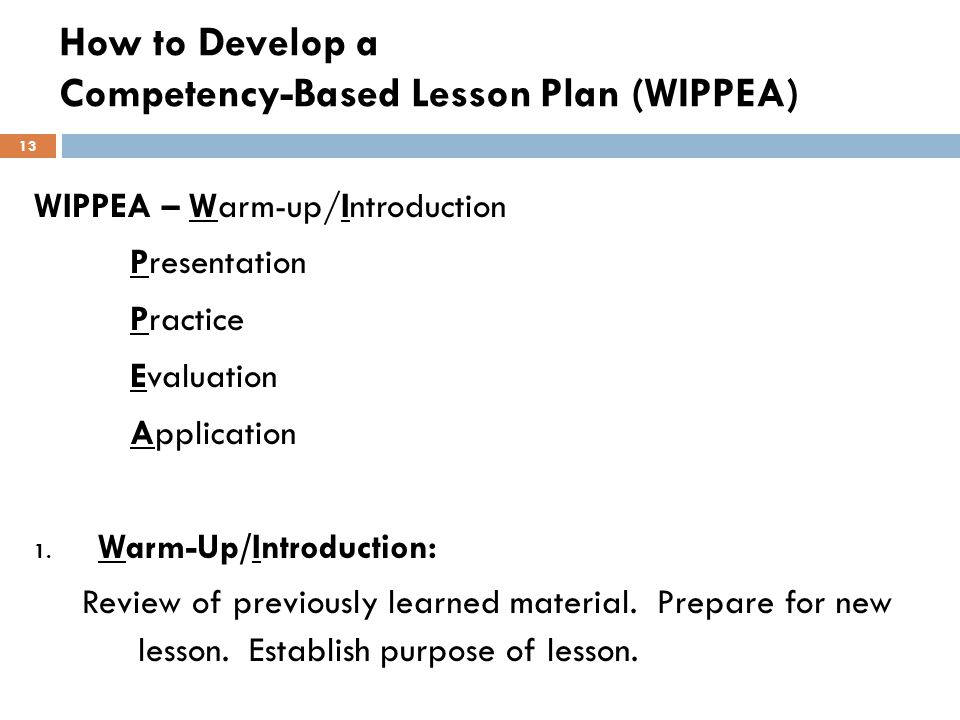 How to Develop a Competency-Based Lesson Plan (WIPPEA)