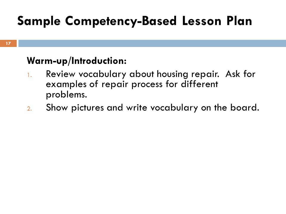 Sample Competency-Based Lesson Plan
