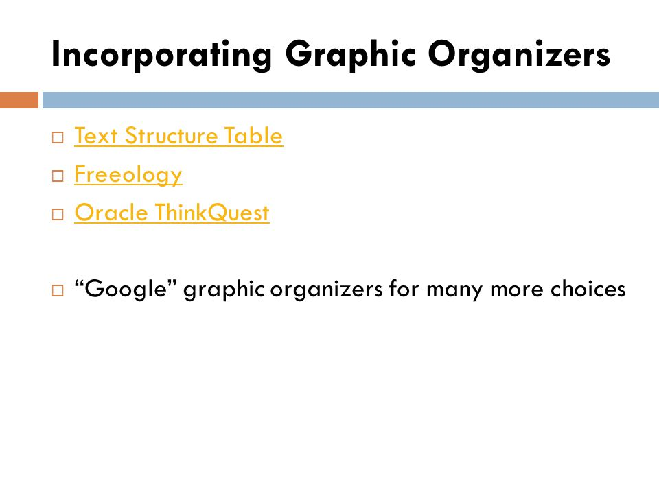 Incorporating Graphic Organizers