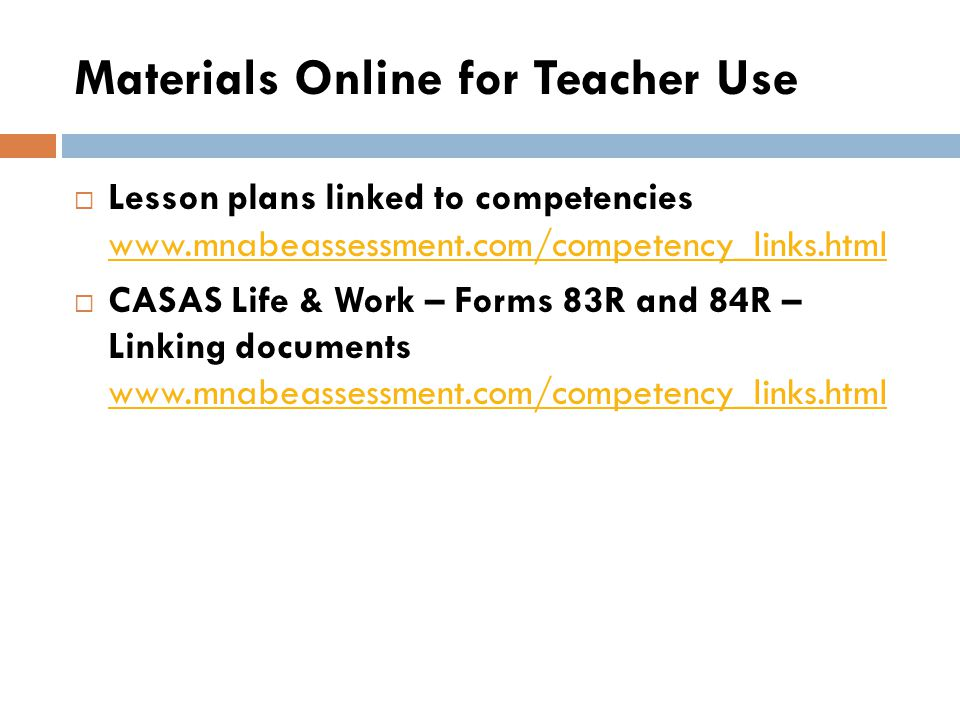 Materials Online for Teacher Use