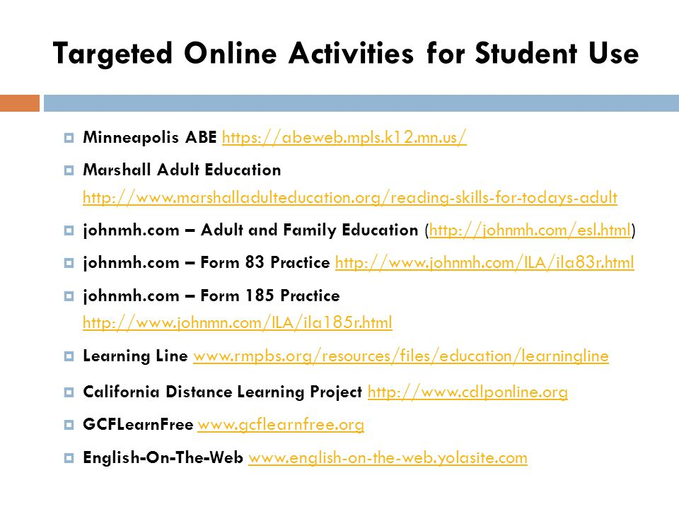 Targeted Online Activities for Student Use