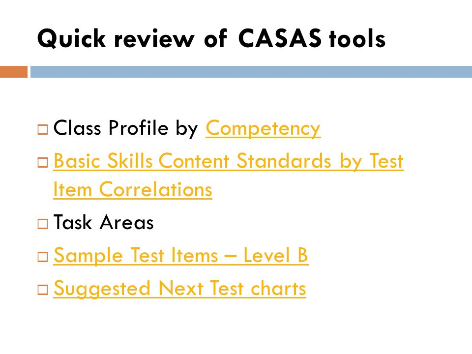 Quick review of CASAS tools