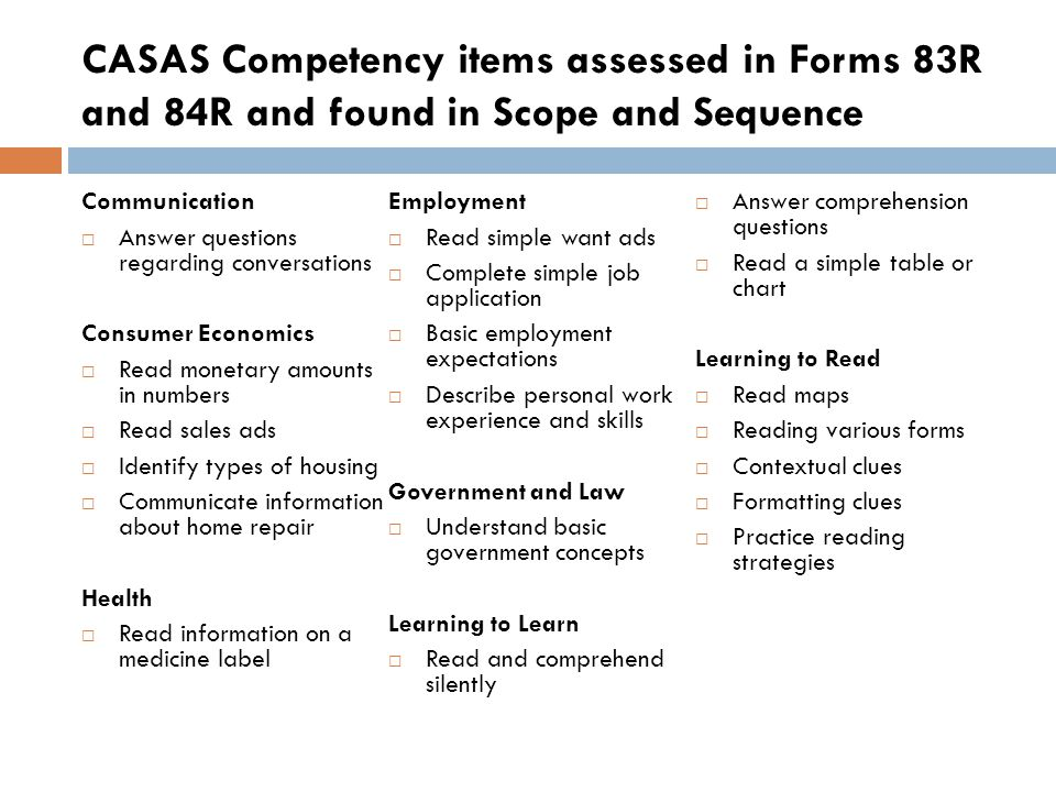CASAS Competency items assessed in Forms 83R and 84R and found in Scope and Sequence