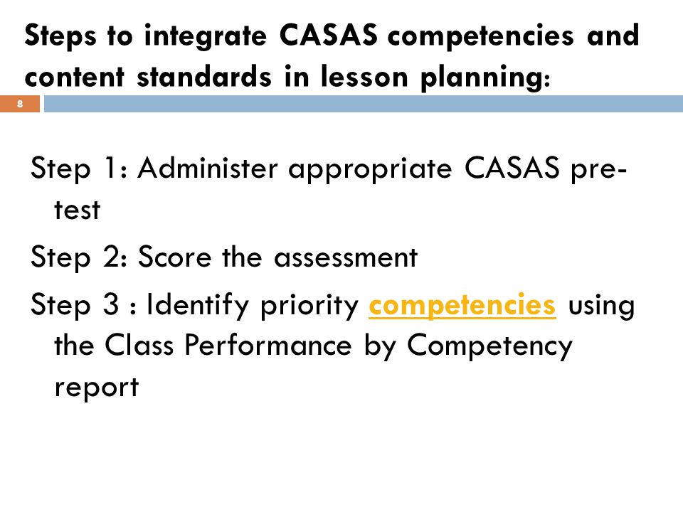 Steps to integrate CASAS competencies and content standards in lesson planning: