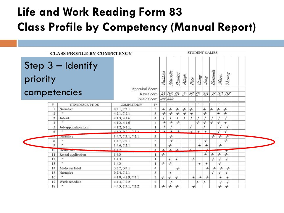 Life and Work Reading Form 83 Class Profile by Competency (Manual Report)