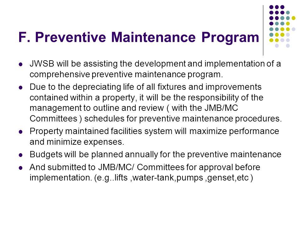 F. Preventive Maintenance Program