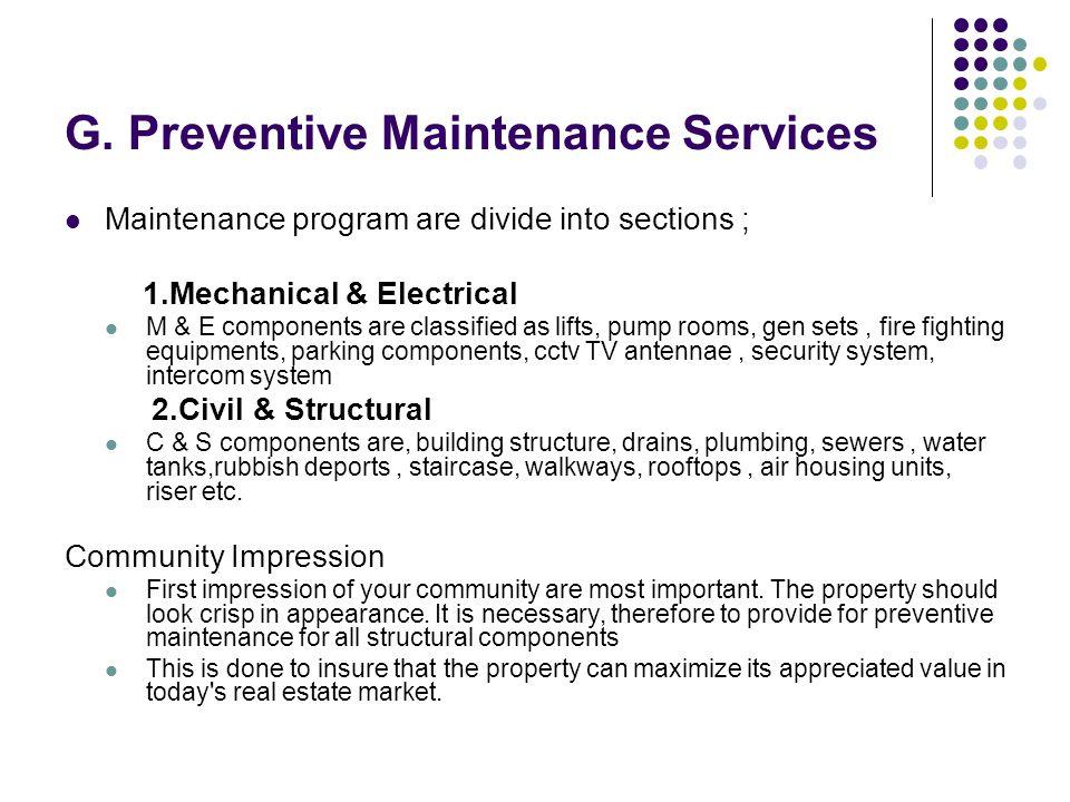 G. Preventive Maintenance Services