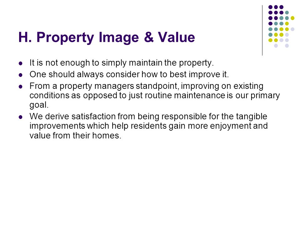 H. Property Image & Value