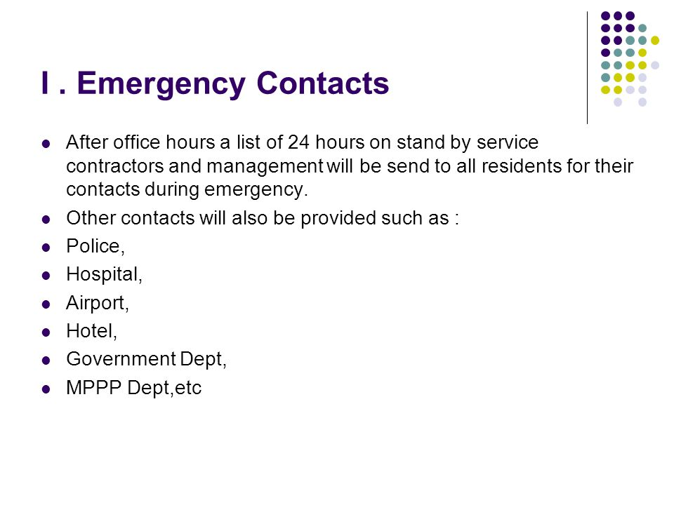 I . Emergency Contacts