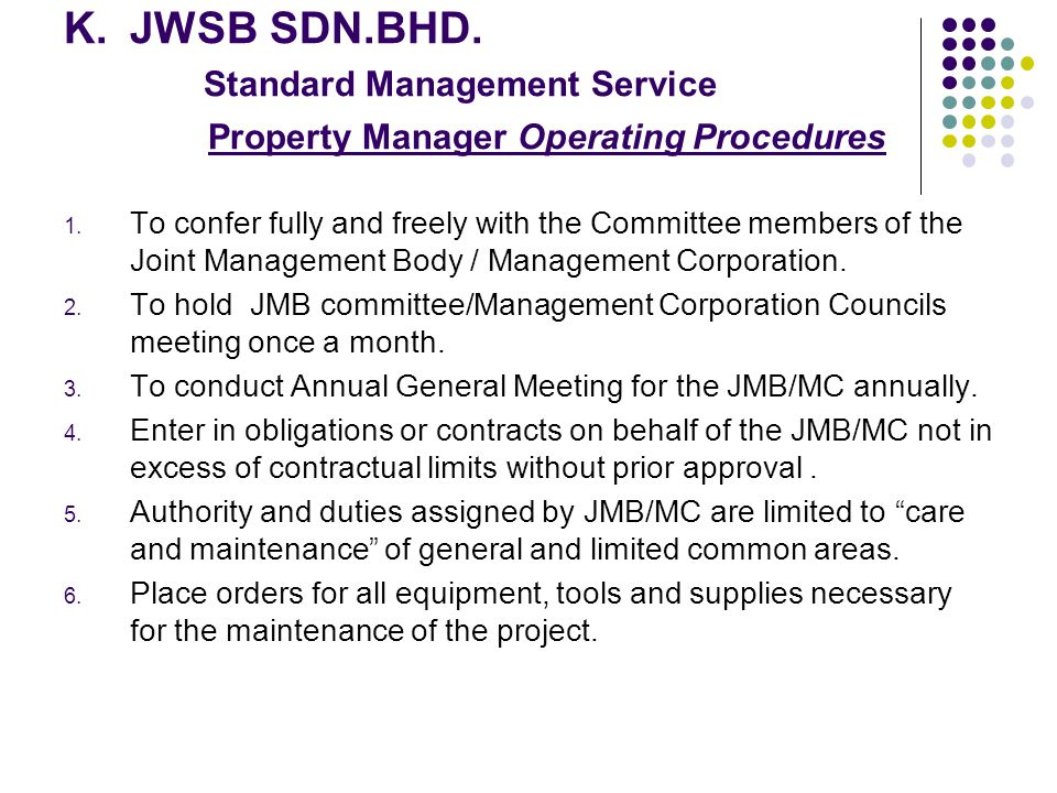 JWSB SDN.BHD. Standard Management Service Property Manager Operating Procedures
