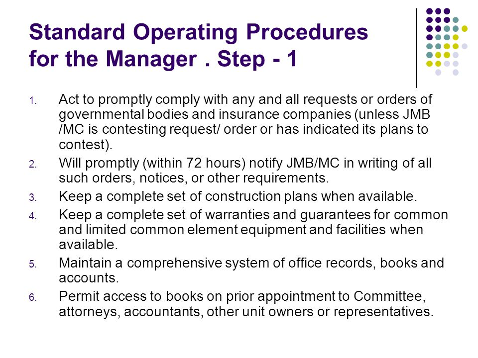 Standard Operating Procedures for the Manager . Step - 1