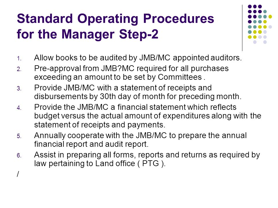 Standard Operating Procedures for the Manager Step-2