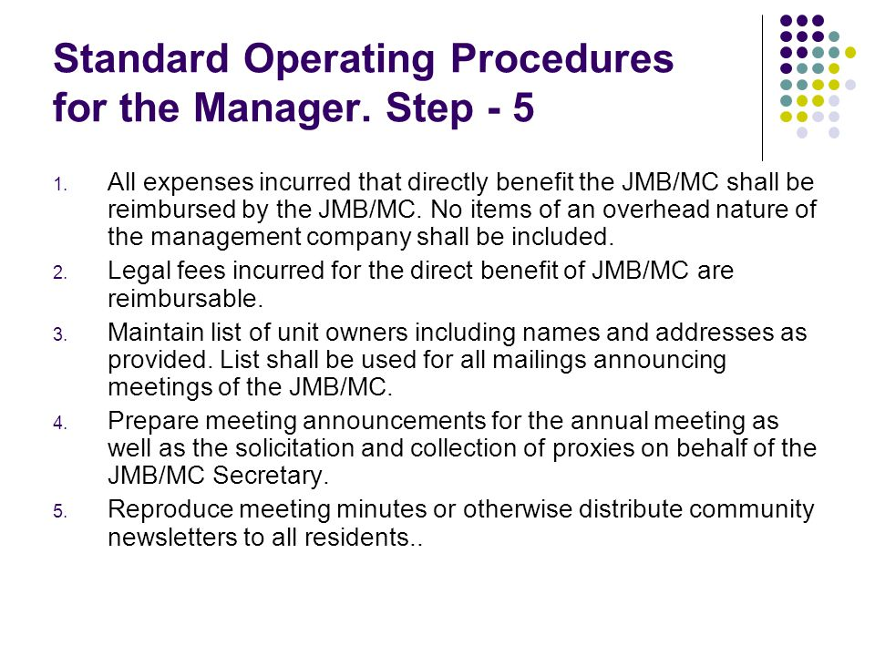 Standard Operating Procedures for the Manager. Step - 5