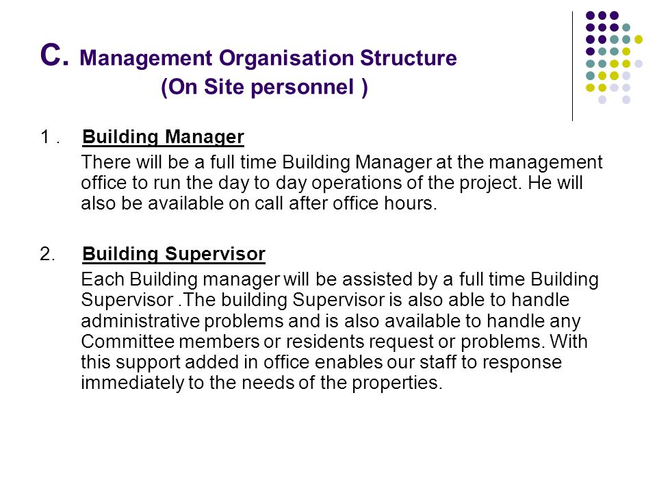 C. Management Organisation Structure (On Site personnel )