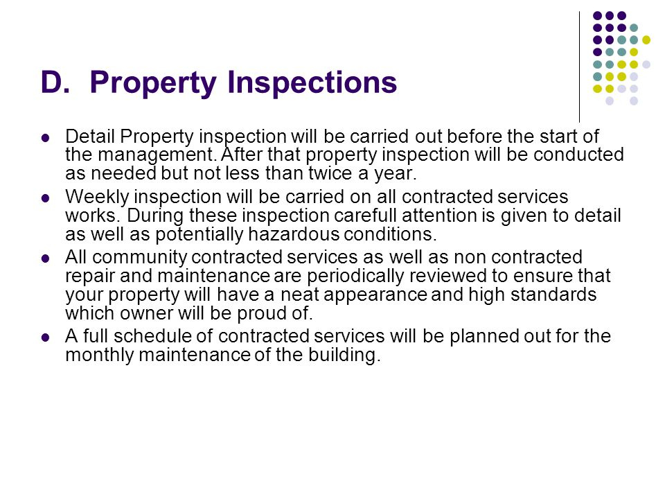 D. Property Inspections