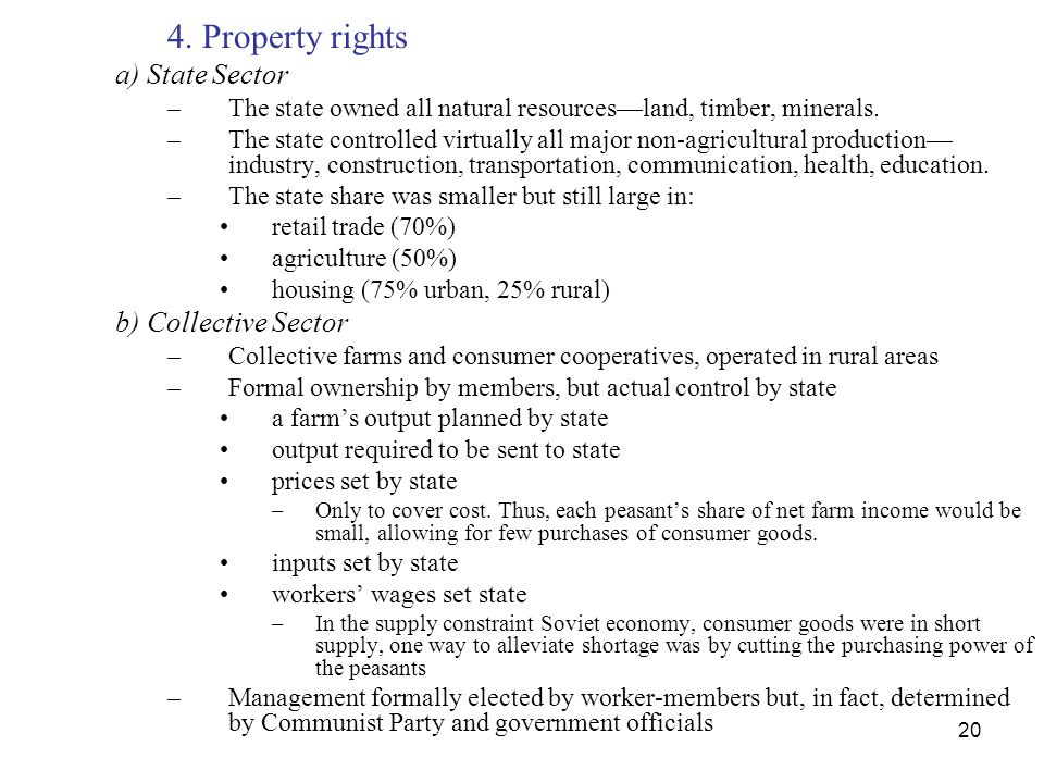 4. Property rights a) State Sector b) Collective Sector