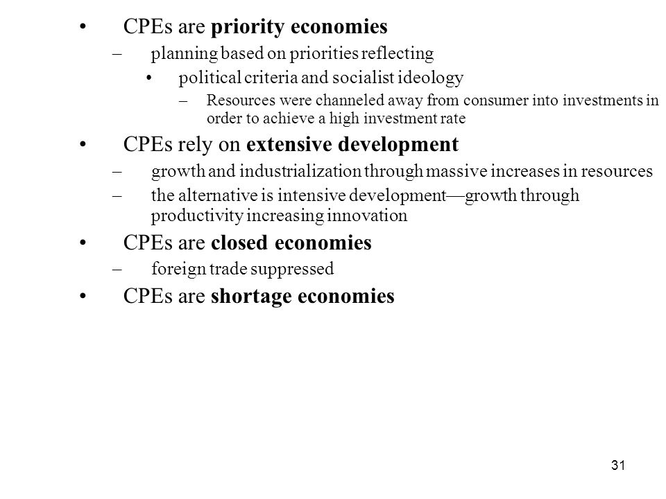 CPEs are priority economies