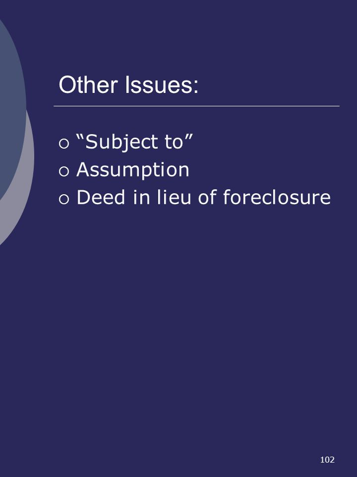 Other Issues: Subject to Assumption Deed in lieu of foreclosure