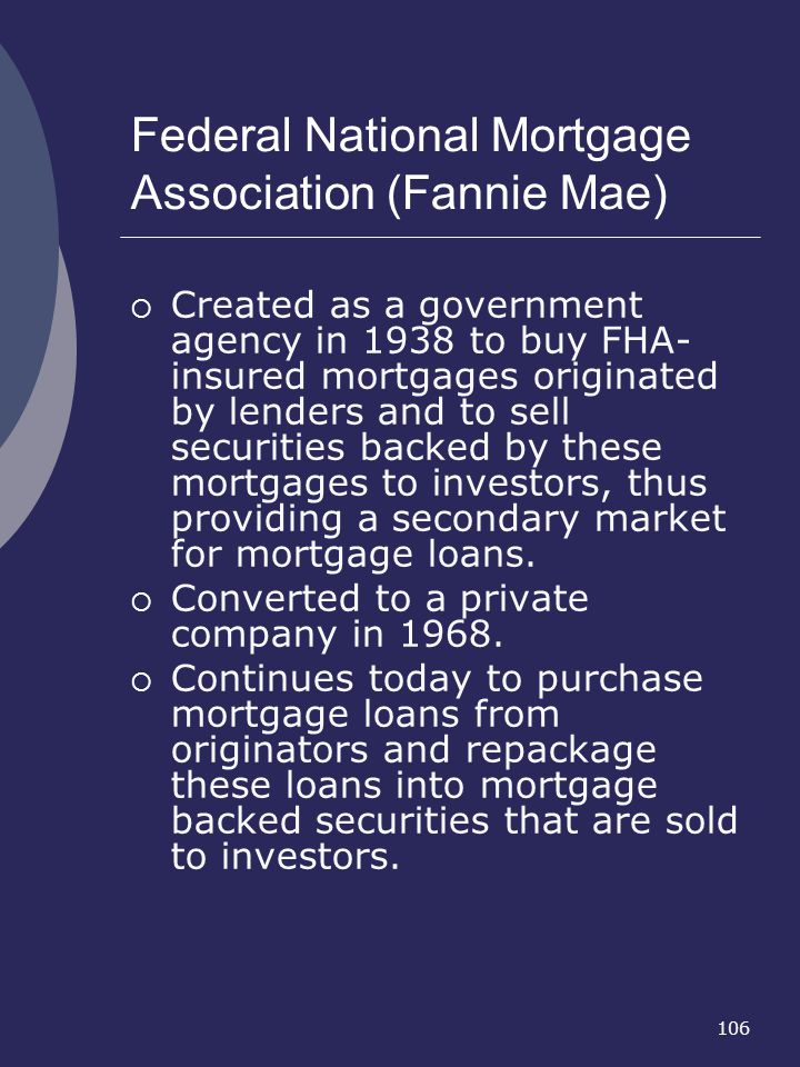 Federal National Mortgage Association (Fannie Mae)