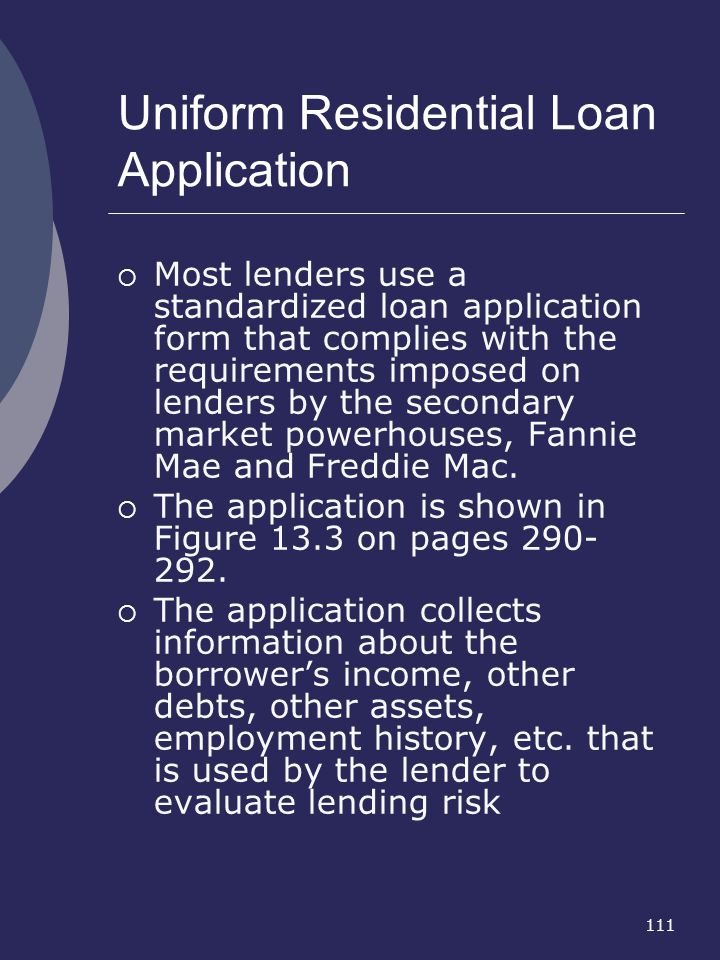 Uniform Residential Loan Application
