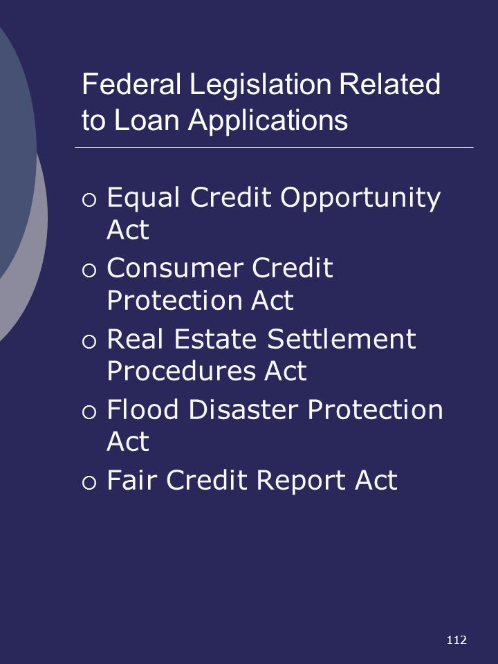 Federal Legislation Related to Loan Applications
