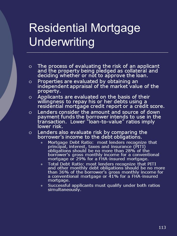 Residential Mortgage Underwriting