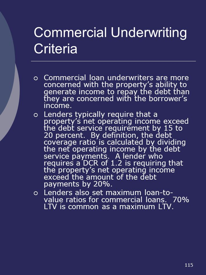 Commercial Underwriting Criteria