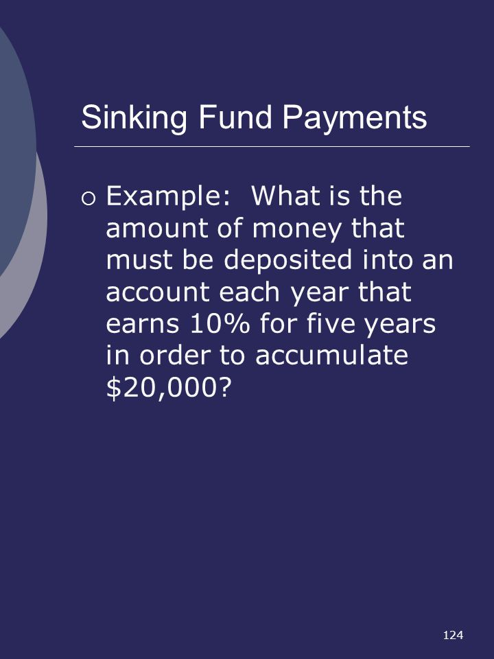 Sinking Fund Payments