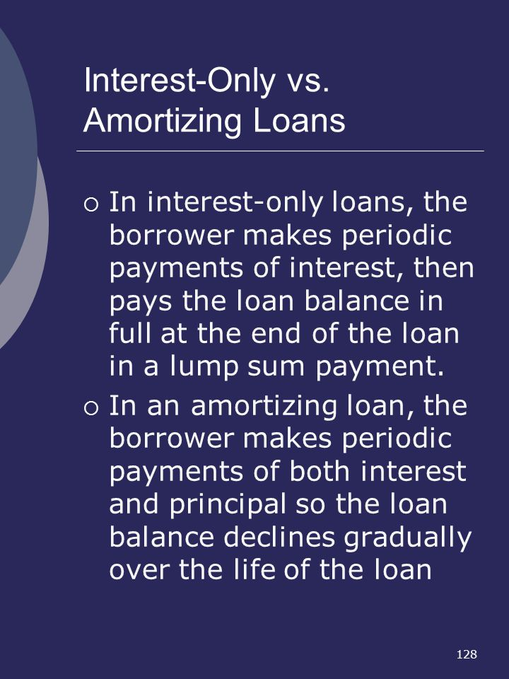 Interest-Only vs. Amortizing Loans