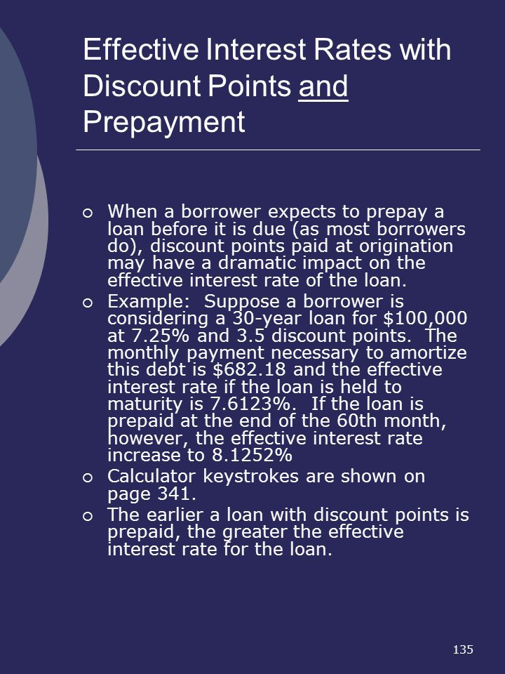 Effective Interest Rates with Discount Points and Prepayment