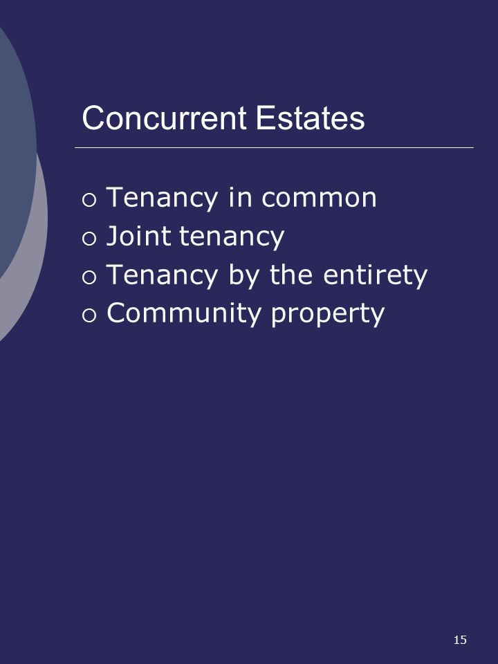 Concurrent Estates Tenancy in common Joint tenancy
