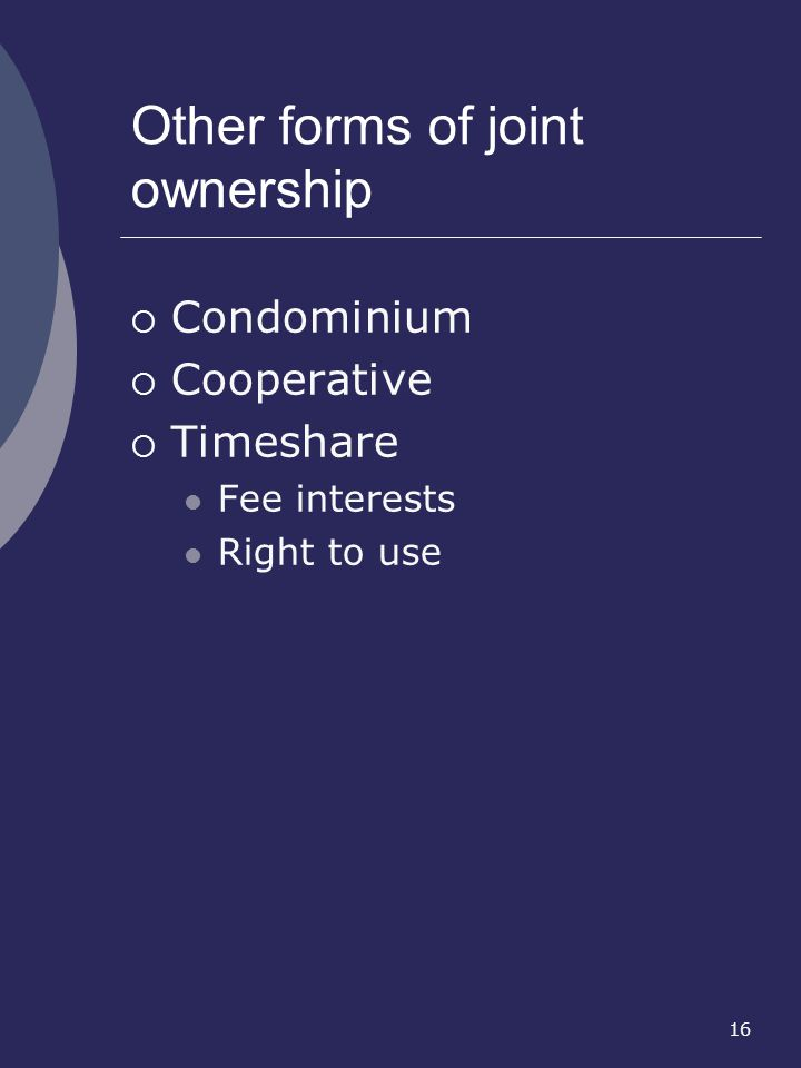 Other forms of joint ownership
