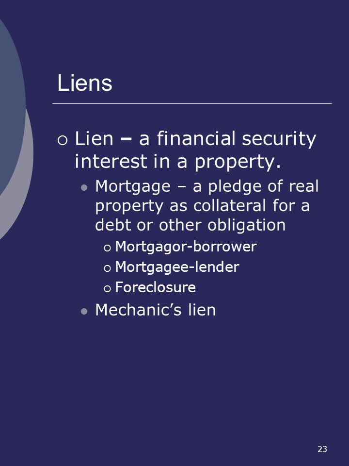 Liens Lien – a financial security interest in a property.