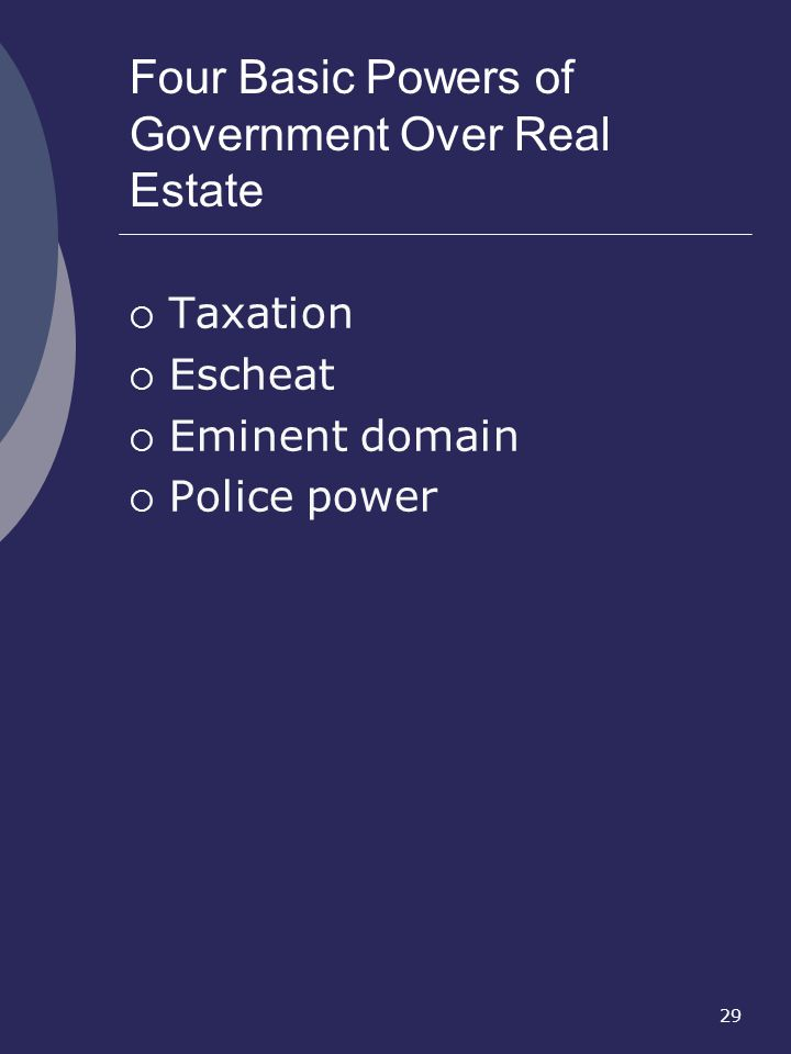 Four Basic Powers of Government Over Real Estate