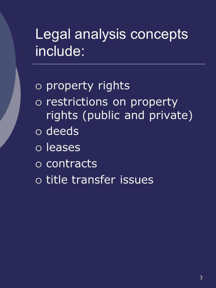 Legal analysis concepts include: