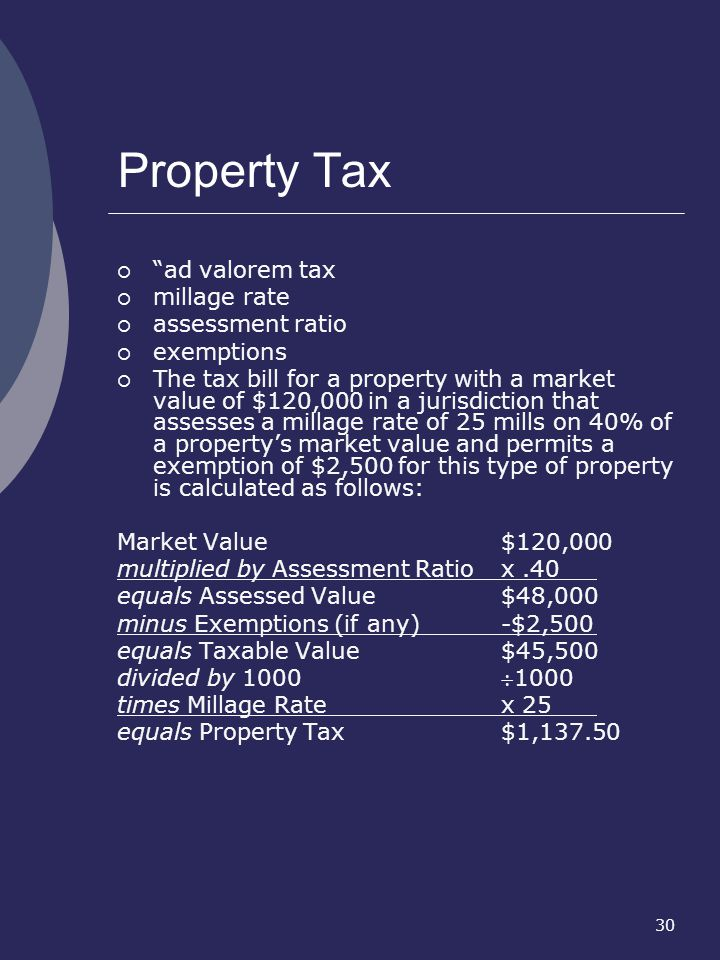 Property Tax ad valorem tax millage rate assessment ratio exemptions