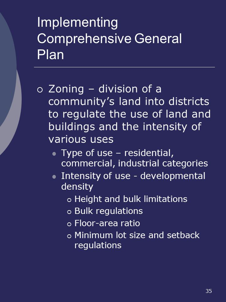 Implementing Comprehensive General Plan