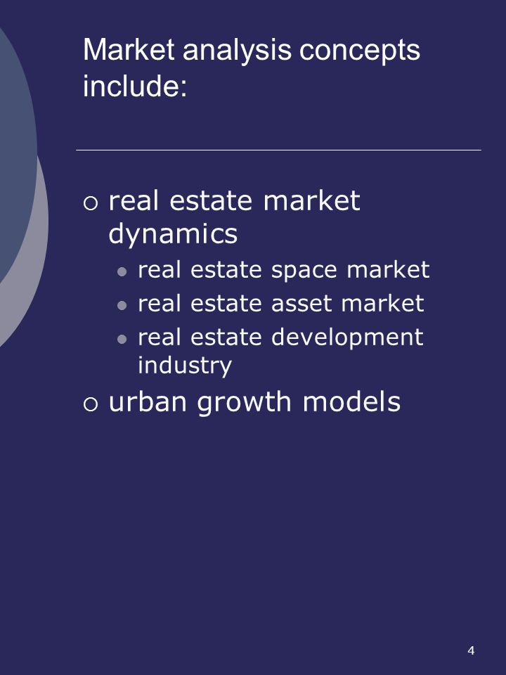 Market analysis concepts include: