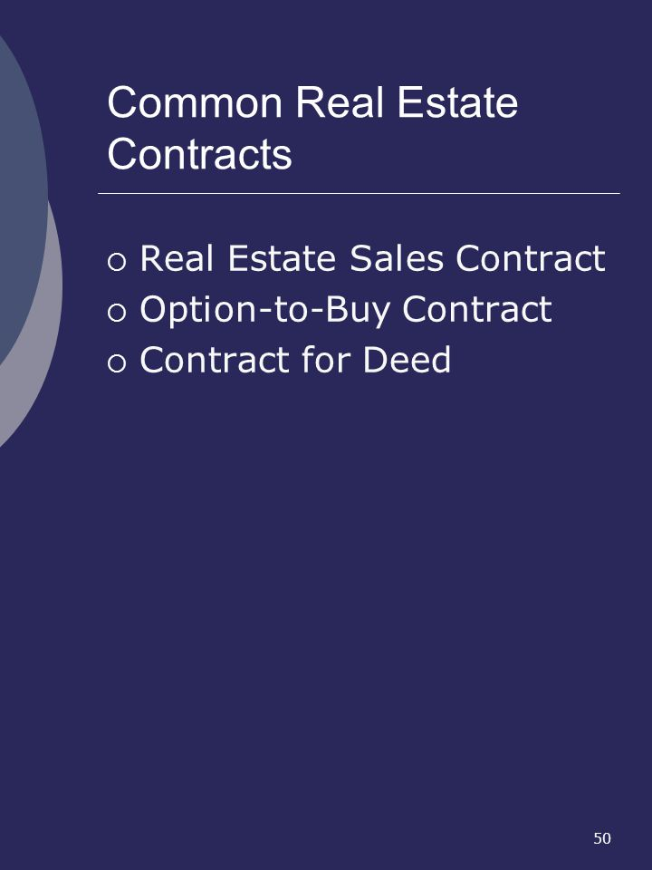 Common Real Estate Contracts