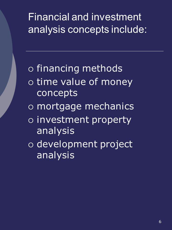 Financial and investment analysis concepts include: